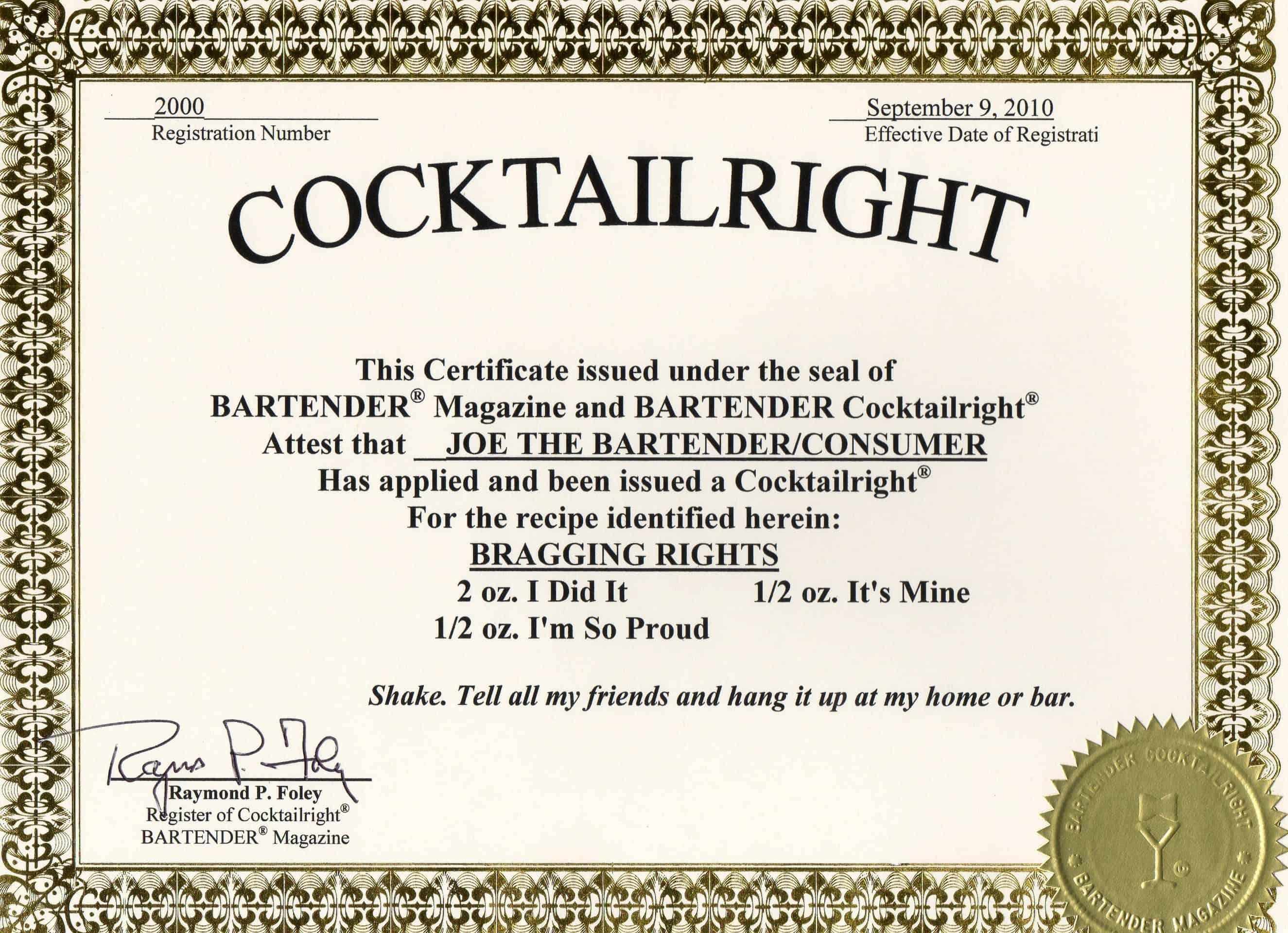 Cocktailright Order Form Bartender